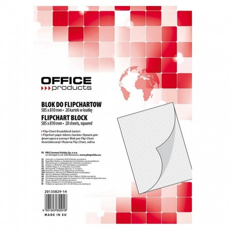 Rezerva hartie flipchart 58,8x81cm, caroiata, 20 coli/set, Office Products
