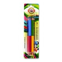 Creioane color Koh-I-Noor Duo-Color Jumbo, set 5 culori