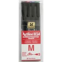 Marker OHP permanent Artline 854, set 4 culori, varf 1mm