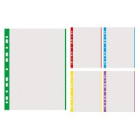 File protectie A4, 40 microni, margine color, 100 buc./set, Donau