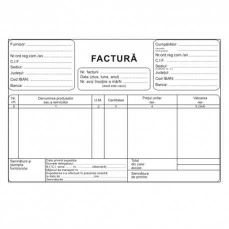 Factura A5, 3 exemplare, autocopiativ, carnet 50 seturi, fara TVA