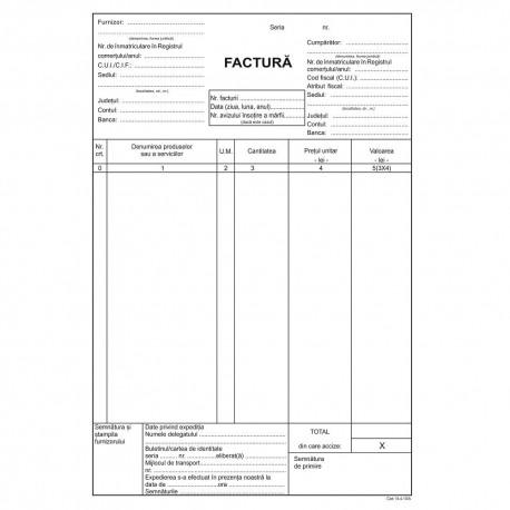 Factura A5, 3 exemplare, autocopiativ, carnet 50 seturi, cu TVA