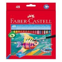 Creioane color acuarela Faber-Castell 48 culori + pensula
