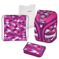 Ghiozdan echipat Herlitz Motion Plus Pink Cubes + cadou stilou Herlitz My.Pen