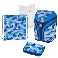 Ghiozdan echipat Herlitz Motion Plus Blue Cubes + cadou stilou Herlitz My.Pen