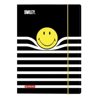 Mapa A4 cu elastic, carton plastifiat, Smiley Black&Yellow, Herlitz