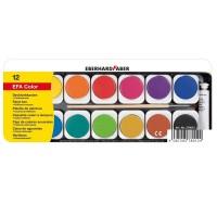 Acuarele 12 culori detasabile cu pensula+tub alb, Eberhard Faber