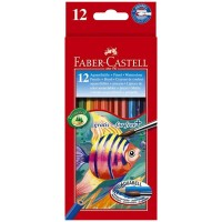 Creioane color acuarela Faber-Castell 12 culori + pensula