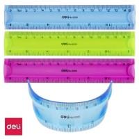 Rigla plastic color flexibila 15cm Deli