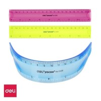 Rigla plastic color flexibila 20cm Deli