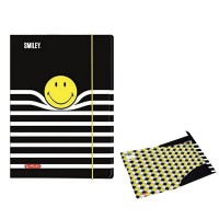 Mapa A3 cu elastic, carton plastifiat, Smiley Black Stripes, Herlitz