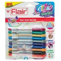 Pix cu gel si sclipici set 10 culori Flair