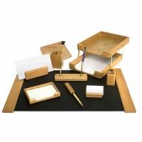 Set de birou lux din lemn stejar, 10 piese, FORPUS