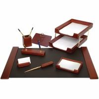 Set de birou lux din lemn maro, 8 piese, FORPUS