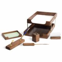 Set de birou lux din lemn stejar afumat, 6 piese, FORPUS