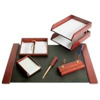 Set de birou lux din lemn maro, 6 piese, FORPUS