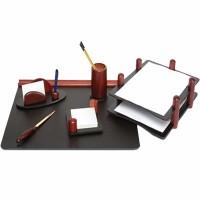 Set de birou lux din lemn mahon, 6 piese, FORPUS
