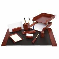 Set de birou lux din lemn visiniu, 9 piese, FORPUS
