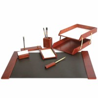 Set de birou lux din lemn visiniu, 7 piese, FORPUS