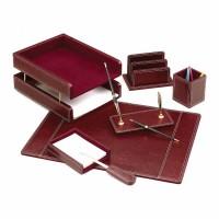 Set de birou lux din piele ecologica, visiniu, 7 piese, FORPUS