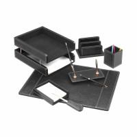 Set de birou lux din piele ecologica, negru, 7 piese, FORPUS