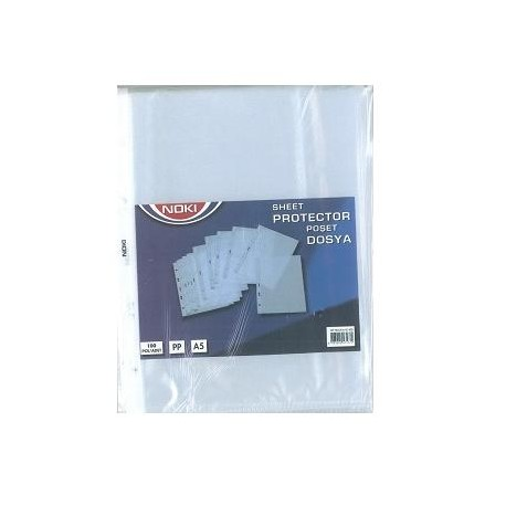 File plastic A5, deschidere sus, 100 buc./set, 45 microni, Noki