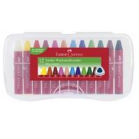 Creioane colorate cerate Jumbo Faber-Castell 12 culori, cutie plastic