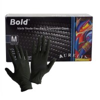 Manusi nitril negre texturate masura M, 100 buc./cutie