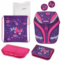 Ghiozdan echipat Herlitz SoftFlex Plus Butterfly + cadou stilou Pelikano Junior