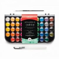 Acuarele 48 culori + pensula cu rezervor, Daco