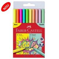 Carioca set 10 culori neon+pastel Faber-Castell Grip