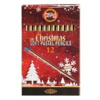 Creioane colorate pastel uscat Koh-I-Noor Set Christmas 12 culori, aurite