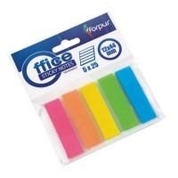 Stick index plastic transparent 44 x 12 mm, 5 x 25 buc/set, Forpus