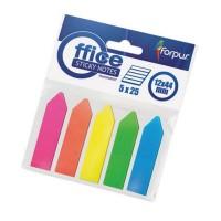 Stick index plastic transparent 44 x 12 mm, 5 x 25 buc/set, sageata, Forpus