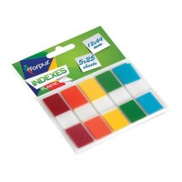 Stick index plastic transparent 44 x 12 mm, 5 x 25 buc/set, pop-up, Forpus