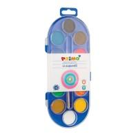 Acuarele 12 culori (tableta 30mm)+pensula Primo, Morocolor