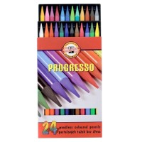Creioane colorate fara lemn Koh-I-Noor Progresso set 24 culori