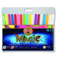 Carioca Magic set 16 culori + 2 care schimba culoarea, Koh-I-Noor