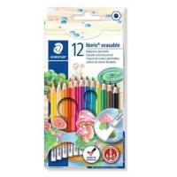 Creioane color Staedtler 12 culori cu radiera Noris