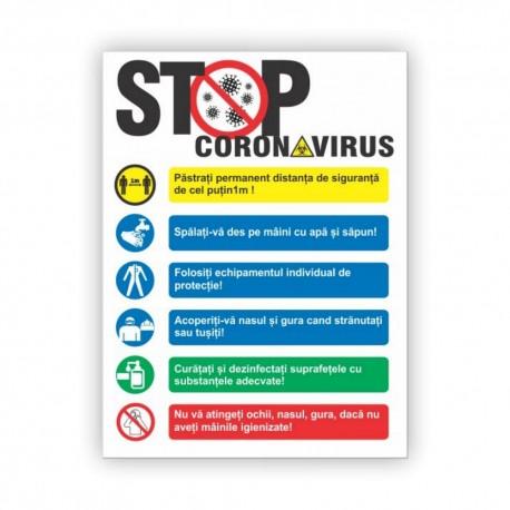 """Indicator informare """"STOP CORONAVIRUS"""" 30x40cm"""