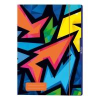 Mapa A4 cu elastic, carton plastifiat, Herlitz Neon Art