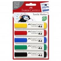 Marker pentru textile, 5 buc./set, Faber-Castell Textile