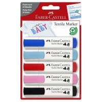 Marker pentru textile, 5 buc./set, Faber-Castell Textile Baby