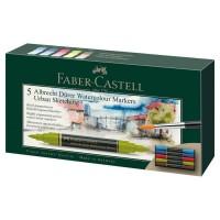 Set 5 markere acuarela, 2 capete, Urban Sketching, Faber-Castell Albrecht Durer