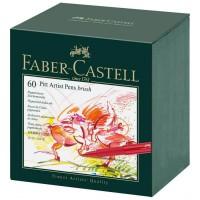 Set 60 markere cu varf pensula Faber-Castell Pitt Artist Pen Brush Studio