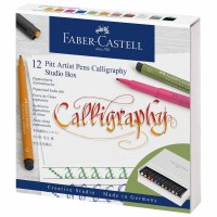 Set caligrafie Faber-Castell Pitt Artist Pen Calligraphy Studio, 12 markere