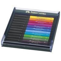 Set 12 markere cu varf pensula Faber-Castell Pitt Artist Pen