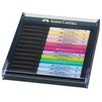 Set 12 markere pastel cu varf pensula Faber-Castell Pitt Artist Pen