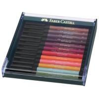 Set 12 markere cu varf pensula Faber-Castell Pitt Artist Pen, culori pamant