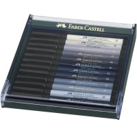 Set 12 markere cu varf pensula Faber-Castell Pitt Artist Pen, nuante gri